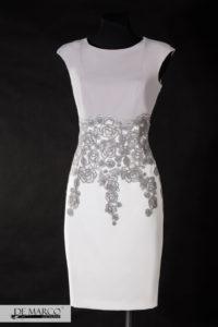 sukienka śmietanowo srebrna