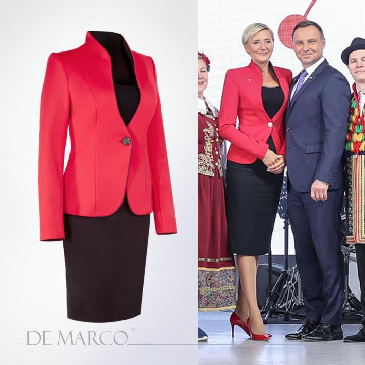 Czerwony Żakiet Venus z De Marco. W tej firmie ubiera się Pierwsza Dama.