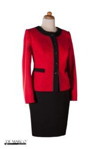 Wełniana garsonka w stylu chanel, idealny kostium damski na sezn przejściowy i zimowy