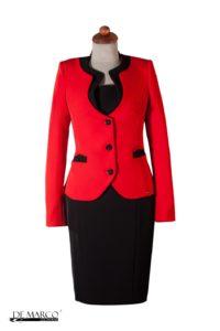 garnitur damski czerwono czarny idealny na wszystkie uroczystości