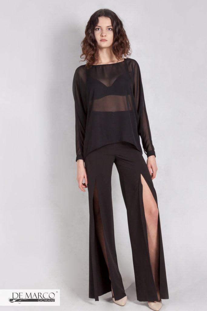 czarne szerokie spodnie z szyfonową bluzką zów w modzie
