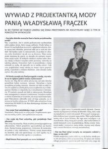 Władysława Frączek o szyciu dla Pierwszej Damy.