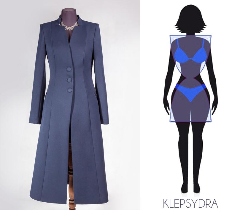 Najmodniejszy biznesowy płaszcz, mocno taliowany idealny dla figury klepsydra,