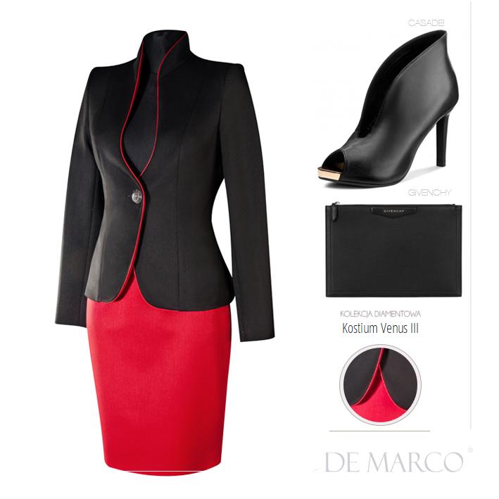 Czerwono czarna garsonka biznesowa Venus