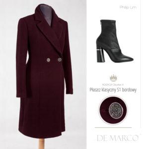 Bordowy klasyczny płaszcz wełniany