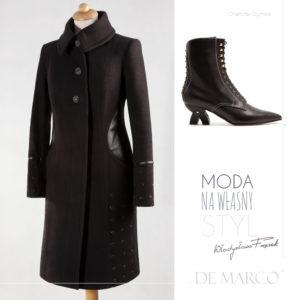 Zimowy czarny płaszcz wełniany