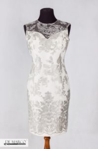 Ekskluzywna sukienka dla mamy wesela, ze srebrną nitką.