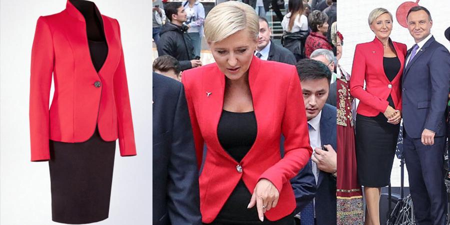 Pierwsza Dama w czerwonym żakiecie z firmy z Frydrychowic