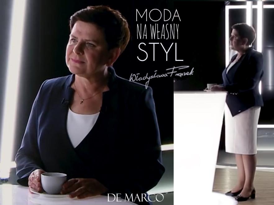 sukienka biznesowa z żakietem. Wice Premier Beata Szydło w biznesowej kreacji szytej na miarę w De Marco.