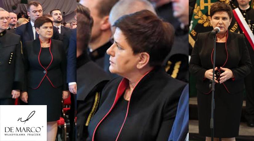 Wice premier Beata Szydło w biznesowej garsonce z De Marco. Eleganckie kostiumy wizytowe, sklep internetowy