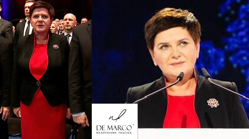 sukienka biznesowa, wizytowa z żakietem z De Marco. Beata szydło w komplecie od Władysławy Frączek z Frydrychowic k.Wadowic
