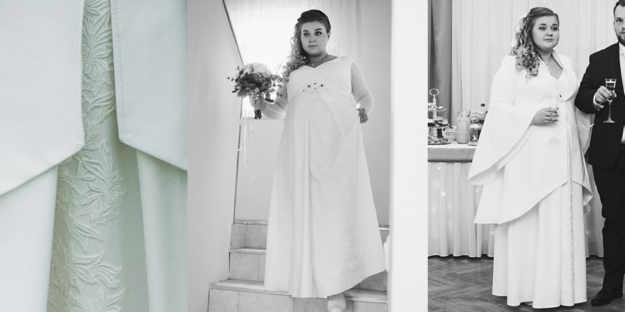 Suknia ślubna szyta na miarę, dla pani młodej w ciąży. Młoda pani młoda mama sukienka na wesele z płaszczem.