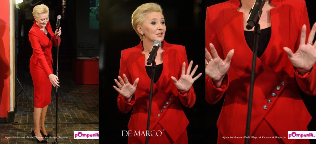 Garsonki i kostiumy damskie sklep internetowy De Marco poleca czerwony garnitur damski. Agata Duda w garsonce Władysławy Frączek z Frydrychowic pod Krakowem