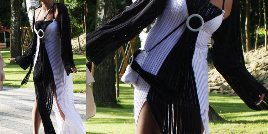 Oryginalna i niebanalna, czarno biała sukienka na wesele.