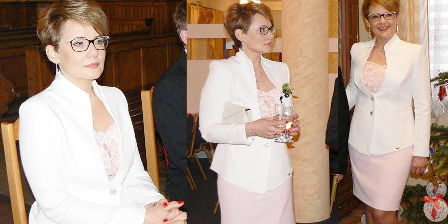 Zestaw szyty na miarę. Sukienka z żakietem naa wesele