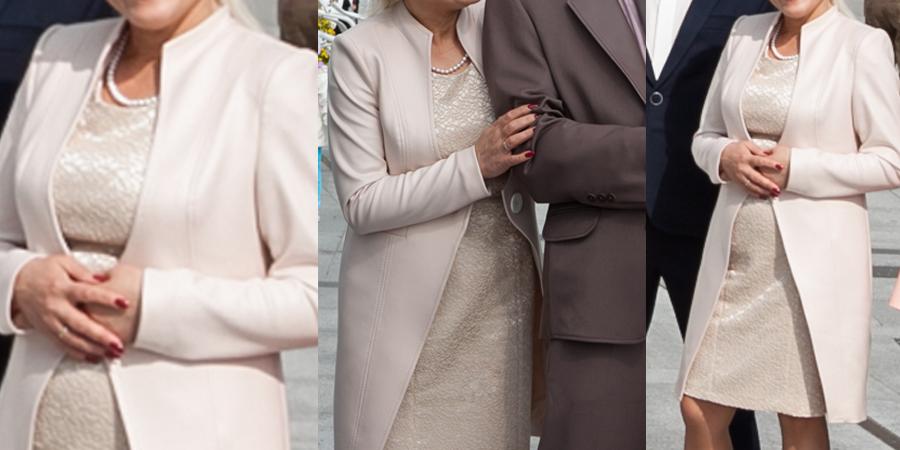 warto szyć na miarę. Zestaw dla mamy wesela sukienka z płaszczem.