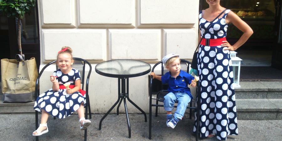 Sukienka w kropki dla mamy i córki