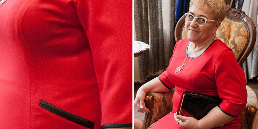 czerwona sukienka biznesowo wizytowa z zamkami