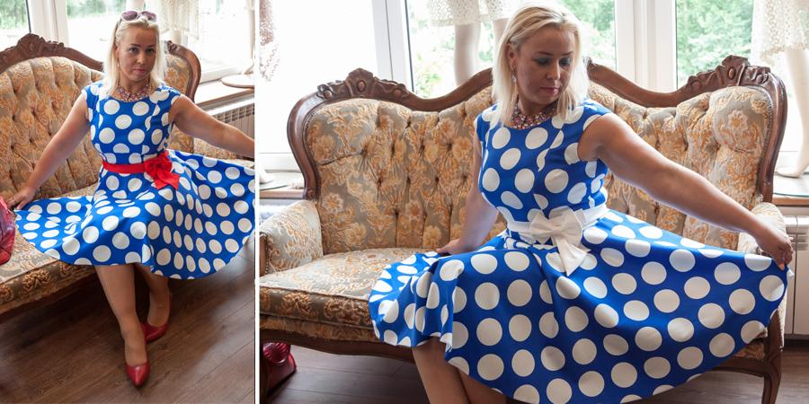 sukienka w kropki, sukienki retro sklep internetowy
