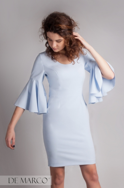 błękitna pastelowa sukienka De Marco, Najpiękniejsza suknia dla mamy.