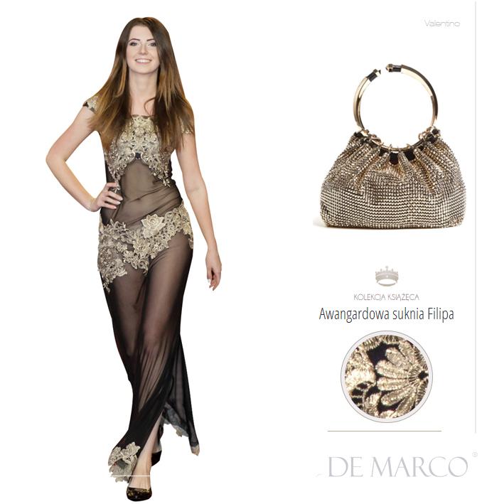 Seksowna długa suknia balowa szyta na miarę w De Marco.