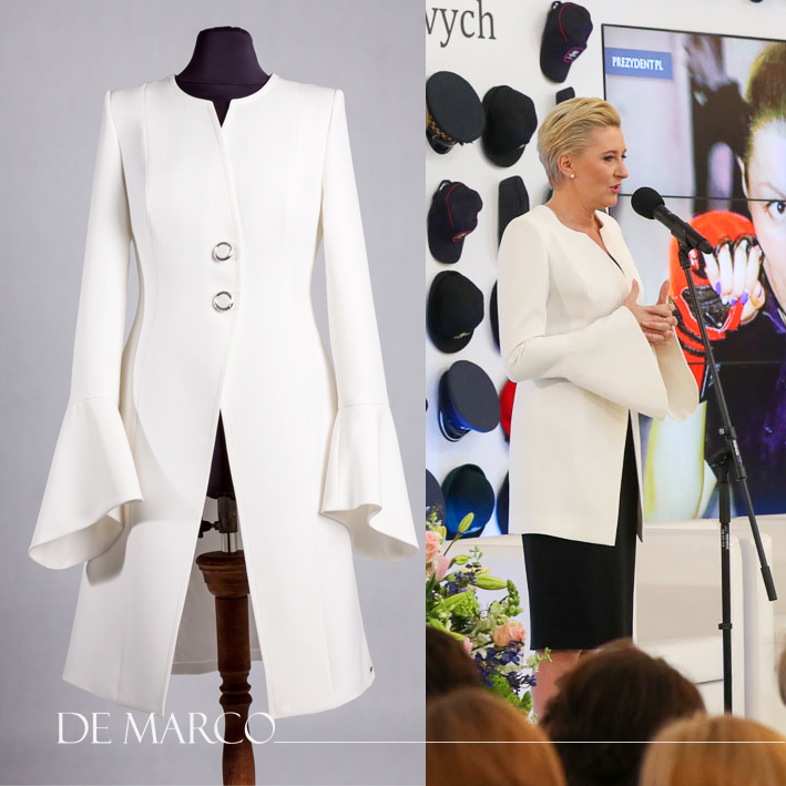 Płaszcz do sukienki w stylu Agaty Dudy
