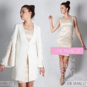płaszcz do sukienki, zoty zestaw dla mamy wesela, szycie na miarę w De Marco
