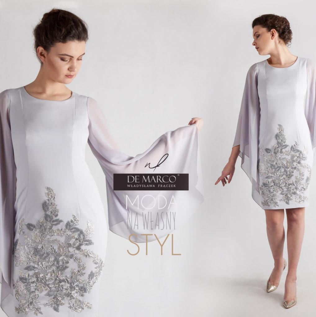 Srebrna sukienka na wesele dla kobiety 50+