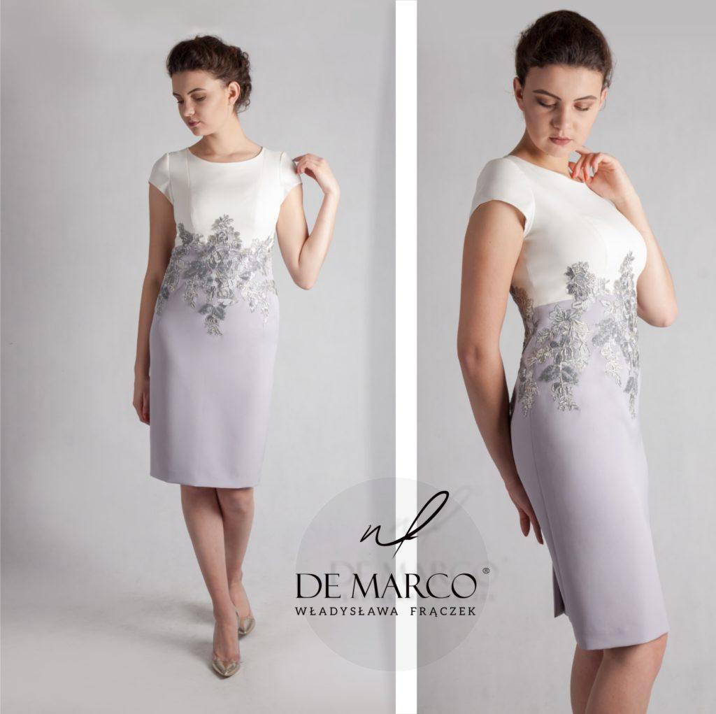 Elegancka śmietanowo popielata sukienka ze srebrną koronką. Kreacja idealna dla matki weselnej szyta jest a na miarę we Frydrychowicach. Sklep internetowy.