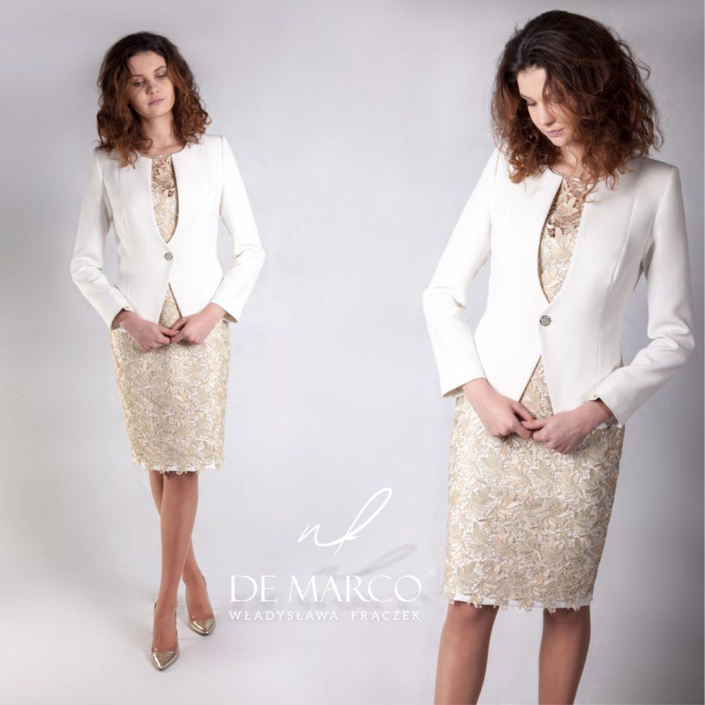Złota sukienka z koronki, gipiury z żakietem, szyta na miarę dla mamy weselnej w De Marco z Frydrychowic.