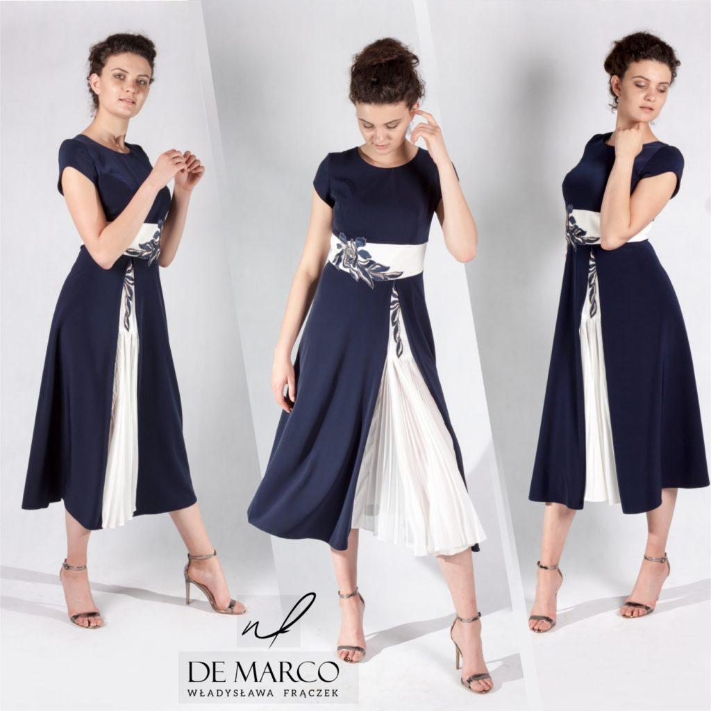 Ekskluzywne suknie dla mamy weselnej szyte na miarę u projektanta mody. Sukienki do połowy łydki, długie suknie balowe i ołówkowe z gipiury.