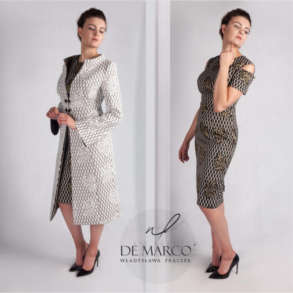 Komplet sukienka z płaszczem dla mamy wesela. Szycie na miarę u projektantki z Małopolski Władysławy Frączek.