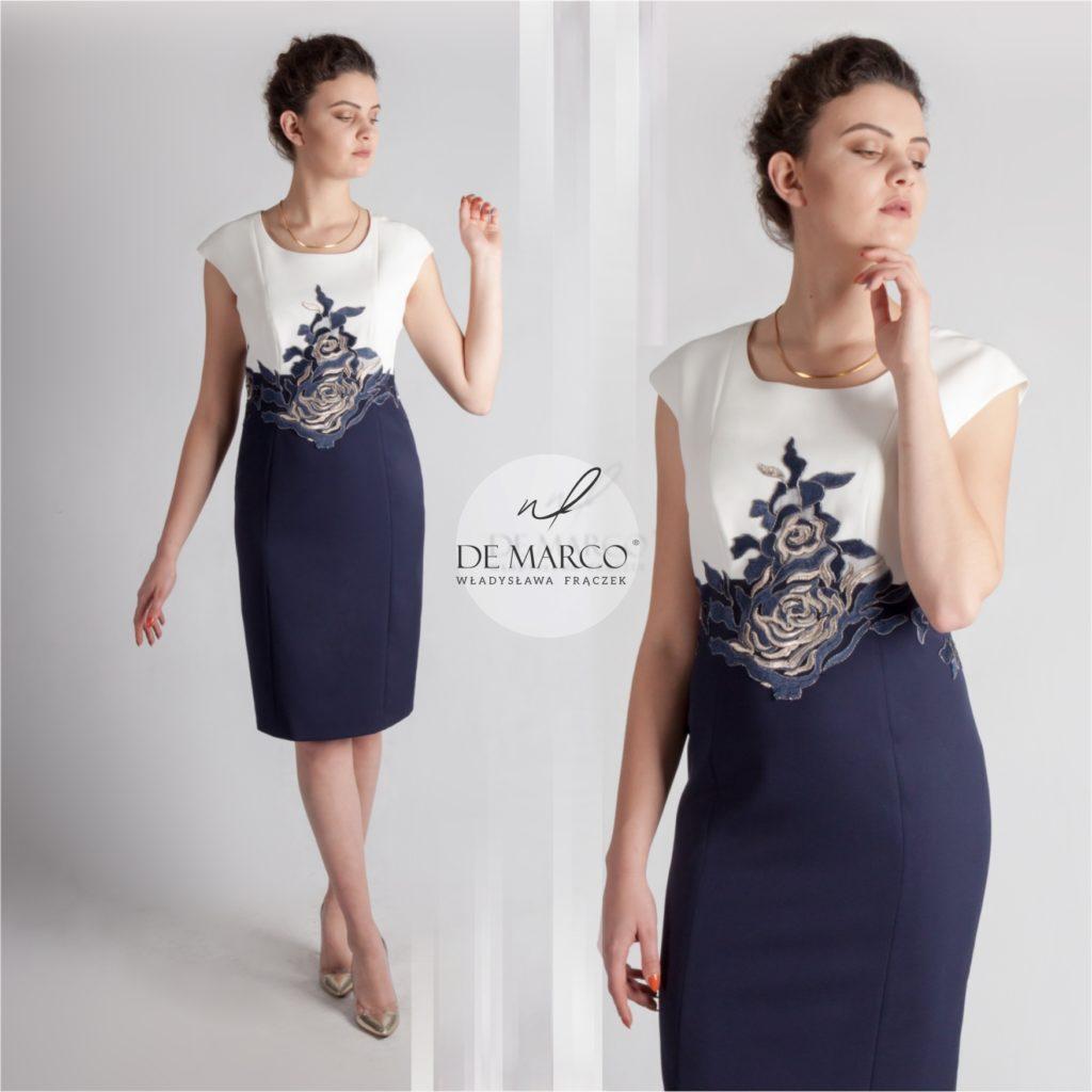 Granatowo śmietanowa sukienka dla mamy na wesele. Ekskluzywna odzież damska szyta na miarę w De Marco k. Wadowic.