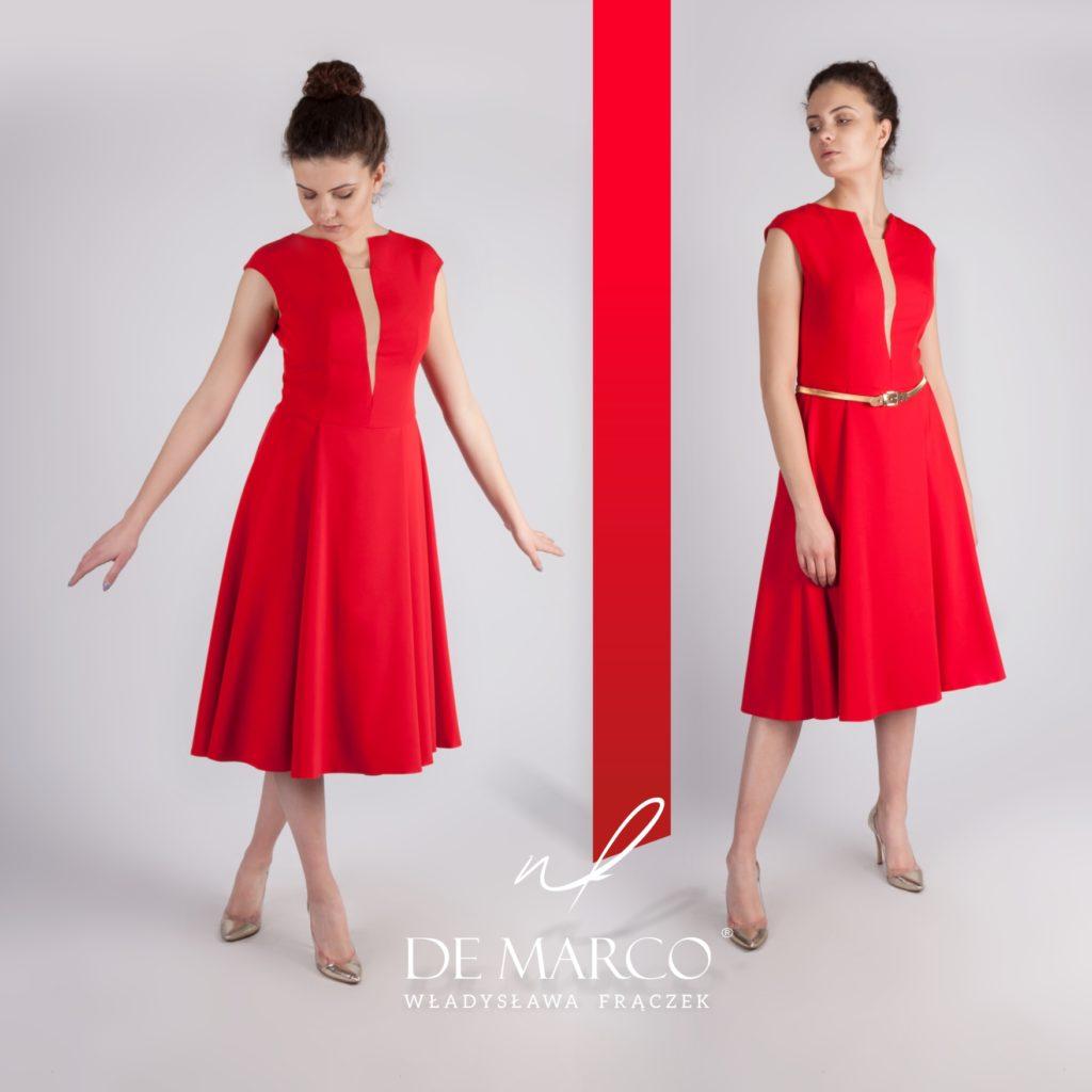 Czerwona poszerzana sukienka retro na wesele dla mamy, do połowy łydki to HIT MODY Weselnej. Firmowy sklep internetowy De Marco.