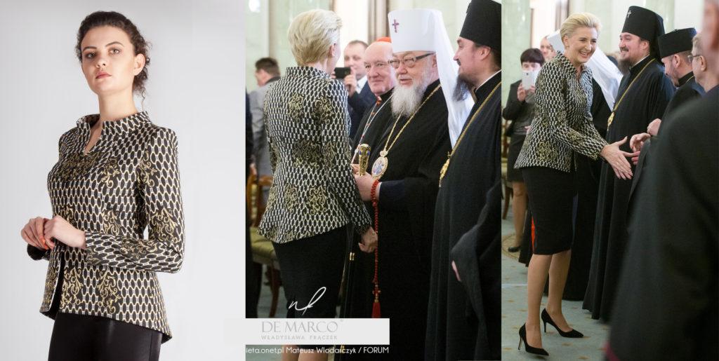 Żakardowy żakiet i ołówkowa spódnica z De Marco. W tej firmie ubiera się Pierwsza Dama. Szycie na miarę u projektantki mody spod Krakowa.
