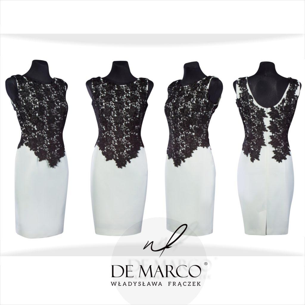 Czarno białe sukienki dla mamy wesela. Szycie na miarę u polskiego projektanta spod Krakowa. Zamów idealną kreacje dla matki wesela na sklepie internetowym De Marco.
