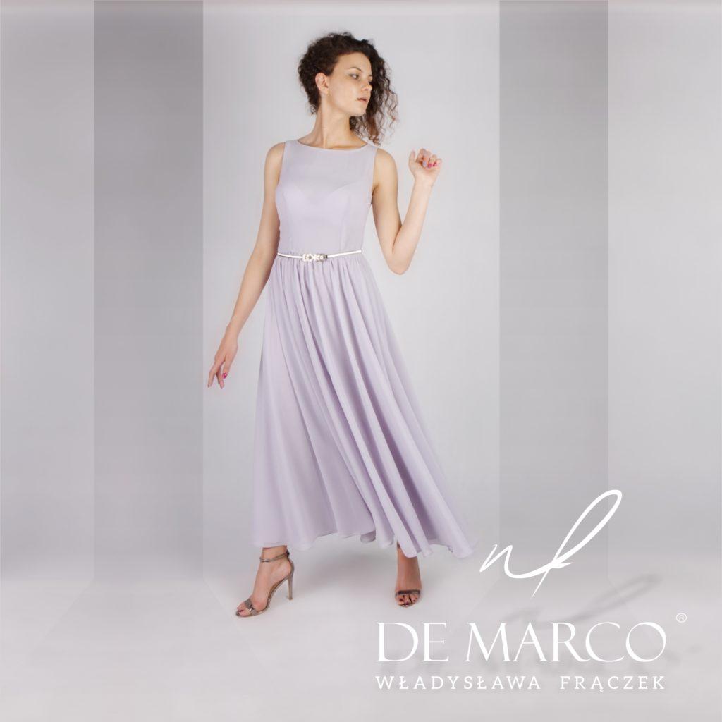 Długa suknia na wesele dla mamy szyta na miarę w sklepie De Marco we Frydrychowicach.
