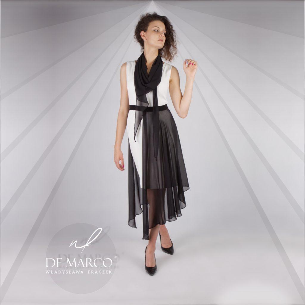 Awangardowa sukienka na wesele syna lub córki do kupienia w sklepie internetowym De Marco. Oryginalne czarnobiałe sukienki na ślub dziecka.