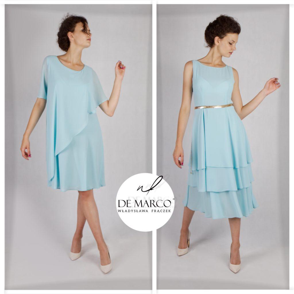 Błękitne sukienki na wesele, dla mamy, drużki, i chrzestnej. Zwiewne i szyfonowe kreacje dostępne na sklepie internetowym De Marco. Eleganckie zestawy dla matki weselnej szyjemy na miarę.
