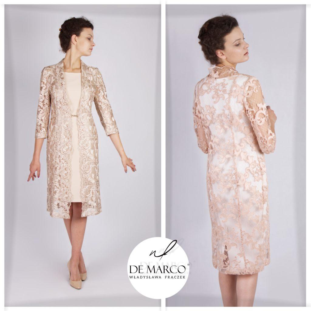 Koronkowy płaszczyk do sukienki na wesele. Piękna niepowtarzalnych kreacja dla mamy pana młodego lub pani młodej. Szycie na miarę on-line królewskich kompletów.