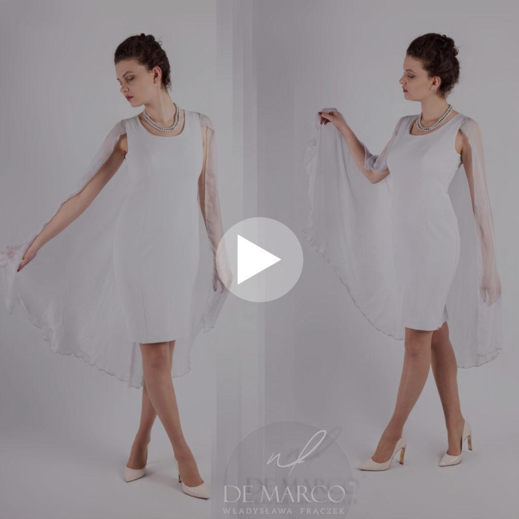 Video prezentacja sukienki na wesele z jedwabnym szalem. Sukienka na wesele i do pracy szyta na miarę w De Marco. Sklep internetowy