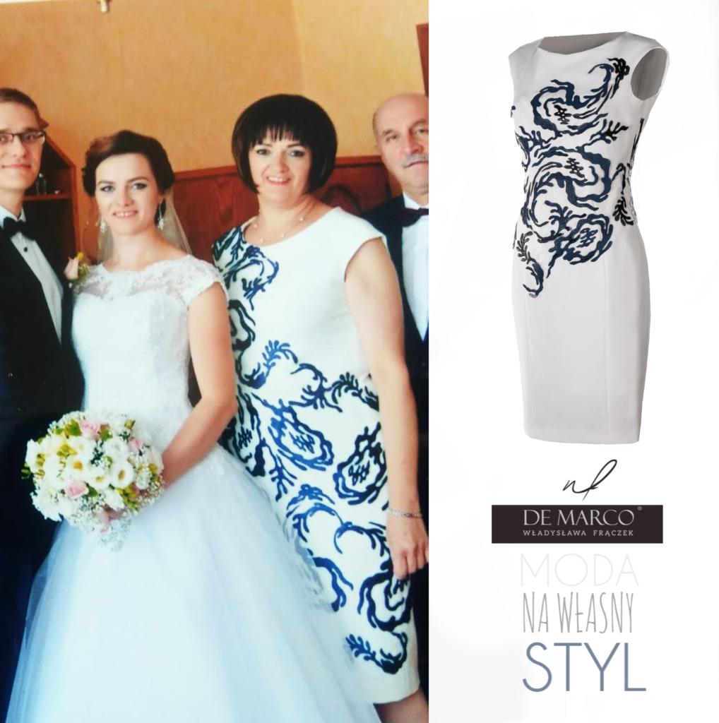 Wyszczuplające sukienki na wesele dla mamy pana młodego lub pani młodej. Piękne stylizację na jesienne śluby córki lub syna. Komplet Sukienka z płaszczem De Marco.