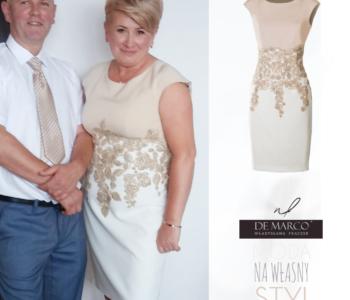Komplet na wesele złota sukienka z żakietem dla mamy panny młodej lub pana młodego :)