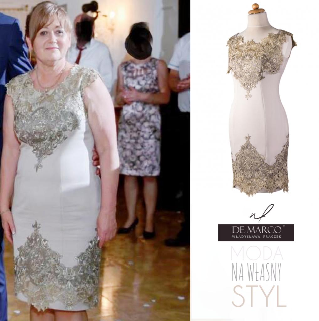 Profesjonalne szycie na miarę złotej sukienki dla mamy wesela. Sklep internetowy De Marco. Eleganckie sukienki na wesele dla mamy sklep De Marco.