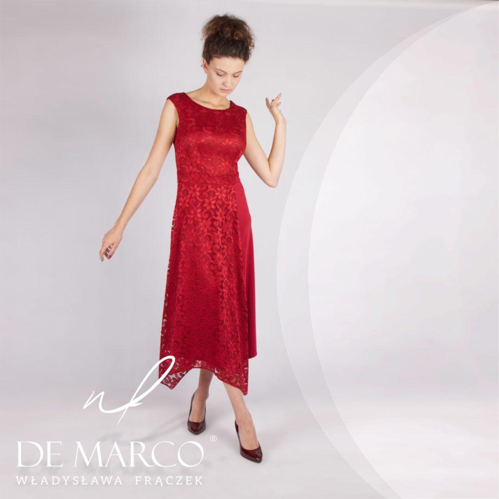 Asymetryczne sukienki na wesele dla mamy pana młodego lub pani młodej. Sklep internetowy De Marco.