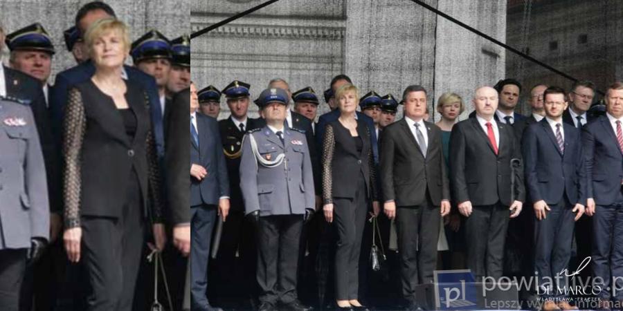 Pani Ewa Pawlusiak polityk, w eleganckim spodnium z De Marco