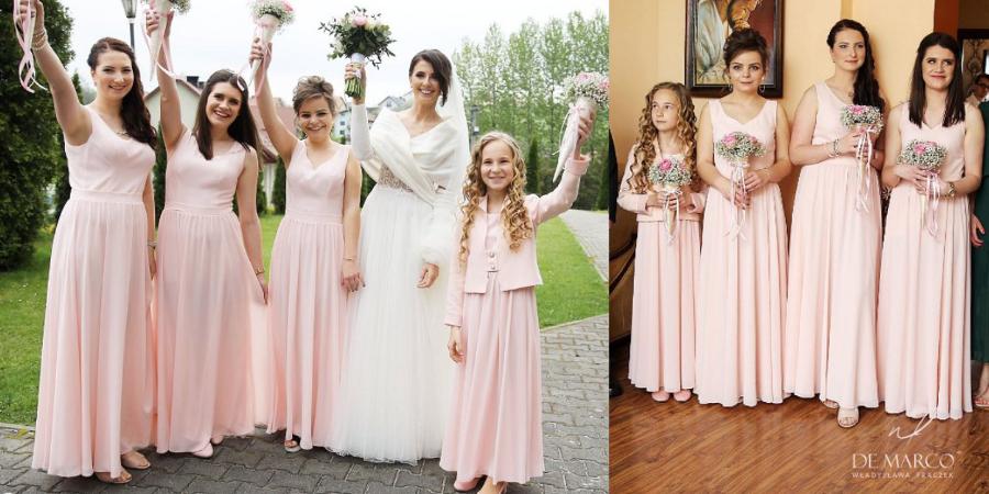 Długie suknie na wesele szyte na miarę w De Marco. Najpiękniejsze drużki na weselu :) Sklep internetowy De Marco