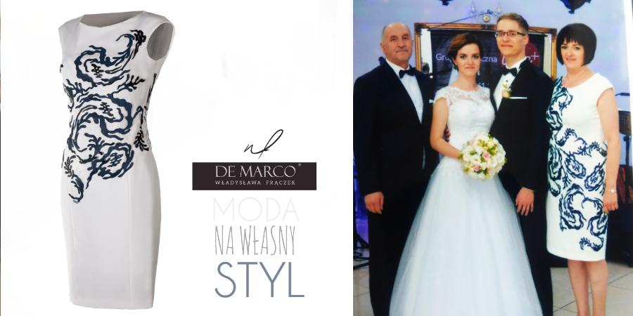 Najpiękniejsze stylizacje dla mamy wesela od projektantki ubrań Agaty Dudy. Profesjonalne szycie na miarę wyszczuplających sukienek na wesele. Sklep internetowy De Marco.