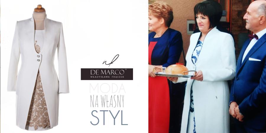 Ekskluzywny komplet dla mamy wesela. Płaszczyk do sukienki szyty na miarę w De Marco.