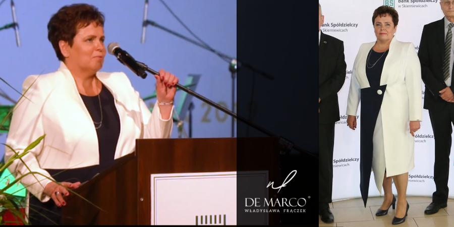 Ekskluzywne płaszcze i sukienki dla dojrzałej kobiety. Szycie u projektantki ubrań Pierwszej Damy. Prezes Banki Spółdzielczego Helena Nitkowska w płaszczu z De Marco.